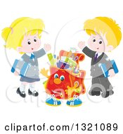 Clipart Of A Cartoon Backpack Character And Waving Caucasian School Children In Uniforms Royalty Free Vector Illustration