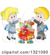 Cartoon Backpack Character And Waving White School Children In Uniforms
