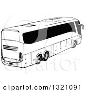 Clipart Of A Black And White Tour Bus Royalty Free Vector Illustration