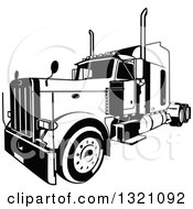Clipart Of A Black And White Lorry Big Rig Truck 3 Royalty Free Vector Illustration by dero #COLLC1321092-0053