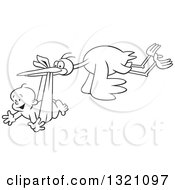 Lineart Clipart Of A Cartoon Black And White Stork Bird Flying A Happy Baby Boy In A Bundle Royalty Free Outline Vector Illustration by Johnny Sajem