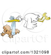 Clipart Of A Cartoon Stork Bird Flying A Happy Black Baby Boy In A Blue Bundle Royalty Free Vector Illustration by Johnny Sajem