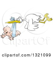 Cartoon Stork Bird Flying A Happy White Baby Boy In A Blue Bundle