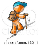 Orange Man Backpacking And Hiking Uphill Clipart Illustration