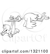 Lineart Clipart Of A Cartoon Black And White Stork Bird Flying A Happy Baby Girl In A Bundle Royalty Free Outline Vector Illustration by Johnny Sajem