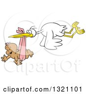 Clipart Of A Cartoon Stork Bird Flying A Happy Black Baby Girl In A Pink Bundle Royalty Free Vector Illustration by Johnny Sajem