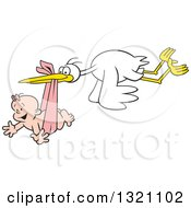 Cartoon Stork Bird Flying A Happy White Baby Girl In A Pink Bundle
