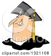 Cartoon Happy Chubby White Male Graduate Smiling From The Shoulders Up