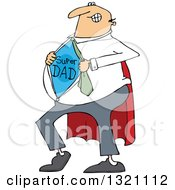 Clipart Of A Cartoon Chubby White Dad Showing His Super Hero Shirt Royalty Free Vector Illustration