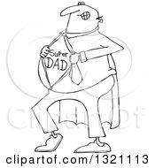 Lineart Clipart Of A Cartoon Black And White Chubby Dad Showing His Super Hero Shirt Royalty Free Outline Vector Illustration