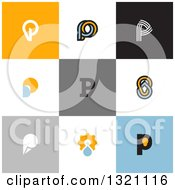 Clipart Of Flat Design Droplet And Light Bulb Letter P Designs Royalty Free Vector Illustration by elena