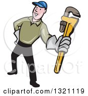 Clipart Of A Cartoon White Male Plumber Holding Out A Monkey Wrench Royalty Free Vector Illustration