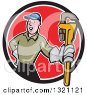 Cartoon White Male Plumber Holding Out A Monkey Wrench In A Black White And Red Circle