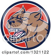 Clipart Of A Cartoon Barking Brown Pitbull Guard Dog Head In A Navy Blue White And Red Circle Royalty Free Vector Illustration by patrimonio