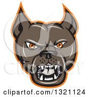 Clipart Of A Cartoon Barking Brown Pitbull Guard Dog Head With An Orange Outline Royalty Free Vector Illustration