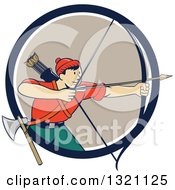 Clipart Of A Retro Cartoon Male Archer Aiming An Arrow And Emerging From A Navy Blue White And Tan Circle Royalty Free Vector Illustration