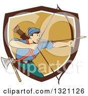 Clipart Of A Retro Cartoon Male Archer Aiming An Arrow And Emerging From A Brown White And Tan Shield Royalty Free Vector Illustration