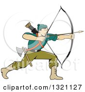 Clipart Of A Retro Cartoon Male Archer Aiming An Arrow Royalty Free Vector Illustration