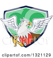 Clipart Of A Cartoon Hippogriff Mythical Creature Emerging From A Navy Blue White And Green Shield Royalty Free Vector Illustration