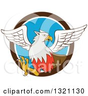 Clipart Of A Cartoon Hippogriff Mythical Creature Emerging From A Brown White And Blue Circle Royalty Free Vector Illustration