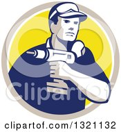 Clipart Of A Retro Male Handy Man Holding A Power Drill In A Tan White And Yellow Circle Royalty Free Vector Illustration