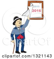 Clipart Of A Cartoon Man With A Cane And A Bowler Hat Peeling Back A 2015 And 2016 Calendar Royalty Free Vector Illustration by patrimonio