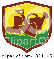 Clipart Of A Silhouetted Boot Spade And Watering Can In A Shield Royalty Free Vector Illustration