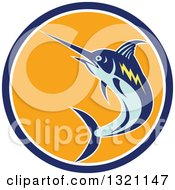 Clipart Of A Retro Jumping Marlin Fish In A Blue White And Orange Circle Royalty Free Vector Illustration by patrimonio
