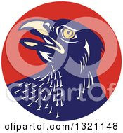Clipart Of A Retro Falcon Head In A Red Circle Royalty Free Vector Illustration by patrimonio