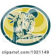 Clipart Of A Retro Carpenter Chiseling In A Teal White And Green Oval Royalty Free Vector Illustration