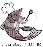 Clipart Of A Cartoon Fish Chef Holding A Spatula And Frying Pan Royalty Free Vector Illustration