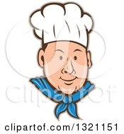 Clipart Of A Retro Cartoon White Male Chef Face In A Toque With A Tan Outline Royalty Free Vector Illustration