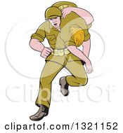 Clipart Of A Cartoon WWII Soldier Carring An Injured Comrade Over His Shoulder Royalty Free Vector Illustration