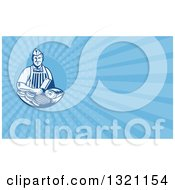 Retro Woodcut Butcher And Blue Rays Background Or Business Card Design