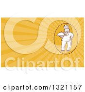 Clipart Of A Retro Chef Holding A Cloche Platter And Orange Rays Background Or Business Card Design Royalty Free Illustration