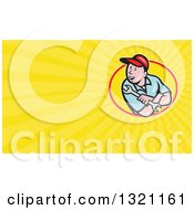 Clipart Of A Cartoon White Male Mechanic Holding A Spanner Wrench And Looking Over His Shoulde And Yellow Rays Background Or Business Card Design Royalty Free Illustration