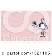 Cartoon White Male Spray Painter And Pink Rays Background Or Business Card Design