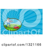 Clipart Of A Cartoon White Man Mowing A Lawn And Blue Rays Background Or Business Card Design Royalty Free Illustration