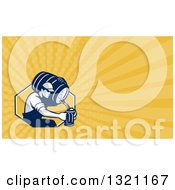Clipart Of A Retro Male Bartender Pouring Beer From A Keg In To A Pitcher And Yellow Rays Background Or Business Card Design Royalty Free Illustration