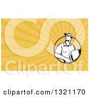 Clipart Of A Retro Male Delivery Man And Yellow Rays Background Or Business Card Design Royalty Free Illustration