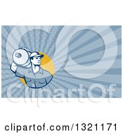 Clipart Of A Retro Male Water Delivery Worker And Blue Rays Background Or Business Card Design Royalty Free Illustration