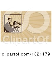 Clipart Of A Retro Photographer Using A Bellows Camera And Tan Rays Background Or Business Card Design Royalty Free Illustration by patrimonio