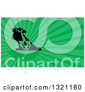 Clipart Of A Retro Silhouetted Landscaper With A Shovel And Plant And Green Rays Background Or Business Card Design Royalty Free Illustration by patrimonio