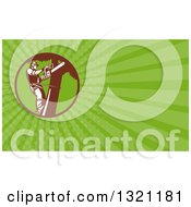 Clipart Of A Retro Arborist Tree Trimmer Using A Chain Saw And Green Rays Background Or Business Card Design Royalty Free Illustration