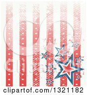 Clipart Of A Distressed Grungy American Background With Vertical Stripes And Stars Royalty Free Vector Illustration