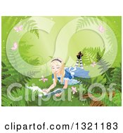 Alice In Wonderland Reading A Book On The Forest Floor With Ferns And Butterflies