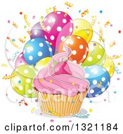 Strawberry Cupcake With A White Ouline Over Confetti And Polka Dot Balloons