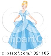 Clipart Of A Blond Haired Blue Eyed Caucasian Princess Cinderella Curtseying In A Blue Ball Gown Royalty Free Vector Illustration by Pushkin