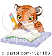 Clipart Of A Cute Baby Tiger Cub Writing In A Notebook At A Desk Royalty Free Vector Illustration
