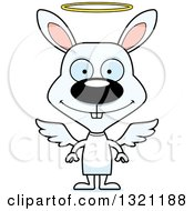 Clipart Of A Cartoon Happy White Rabbit Angel Royalty Free Vector Illustration